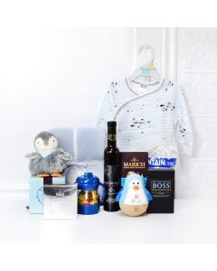 Precious Penguin Gift Set with Wine, baby gift baskets, baby gifts, wine gift baskets