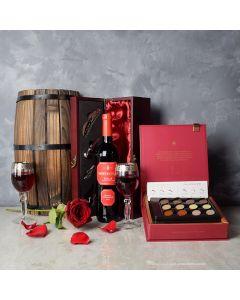 Valentine's Wine & Chocolate Gift Basket, wine gift baskets, chocolate gift baskets, Valentine's Day gifts, gift baskets, romance