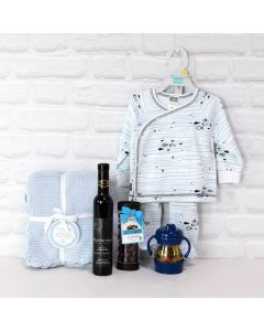 Baby Boy Blue Gift Basket with Wine, baby gift baskets, baby gifts, gift baskets