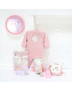 BABY GIRL LOVES UNICORN GIFT SET, baby girl gift basket, welcome home baby gifts, new parent gifts
