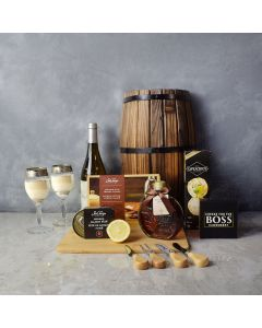 Deluxe Smoked Salmon & Citrus Gift Basket with Wine, gift baskets, gourmet gifts, gifts