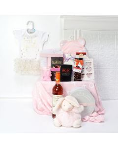 Pamper Mommy & Daughter Gift Set, baby gift baskets, baby boy, baby gift, new parent, baby, champagne