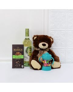 Baby Bear Sweet Celebration Set, baby gift baskets, baby boy, baby gift, new parent, baby, champagne
