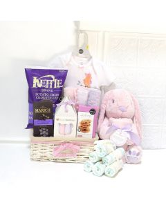 THERE'S A NEW BABY GIRL IN TOWN GIFT BASKET, baby girl gift basket, welcome home baby gifts, new parent gifts